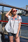 1980's vintage embroidered Mexican top 'M/ L'