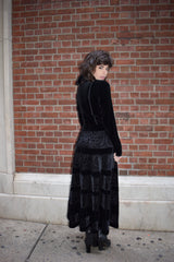 1990's vintage folk black velvet dress 'S'
