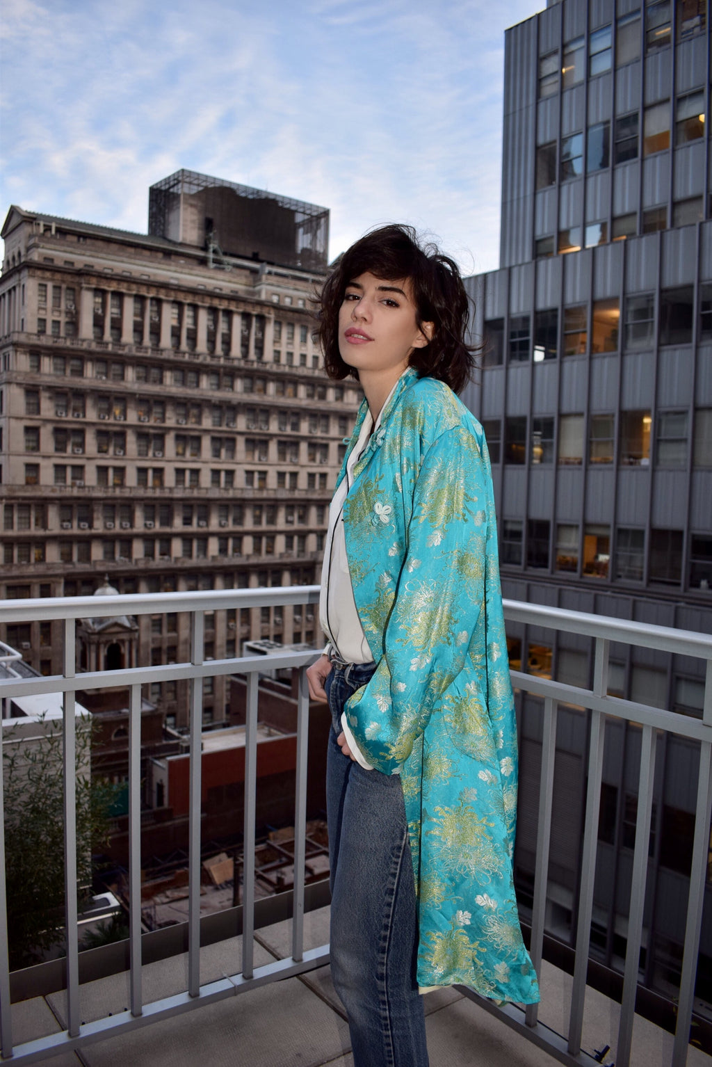 1990's vintage satin asian kimono duster jacket 'L'