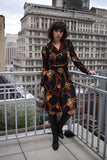 1970's vintage jersey Isotta Italy floral retro print dress size 'S'