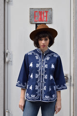 1960's/ 70's vintage Caro of Honolulu navy and white ethnic shirt 'L'