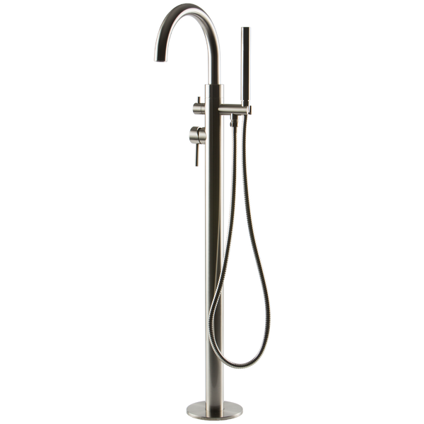 Borhn Ossimo Floor Mount Tub Filler with Hand Shower Brushed Nickel B51297
