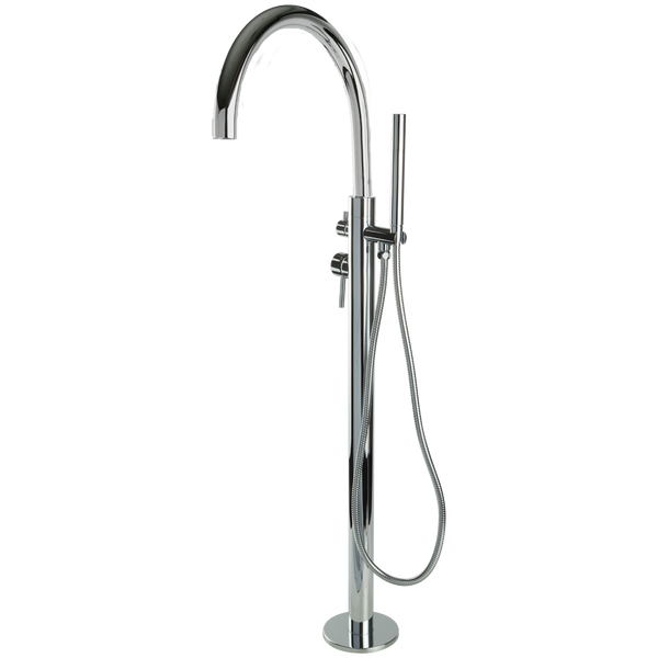 Borhn Ossimo Floor Mount Extended Spout Tub Filler with Hand Shower Chrome B51300
