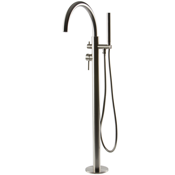 Borhn Ossimo Floor Mount Short Spout Tub Filler with Hand Shower Brushed Nickel B51303