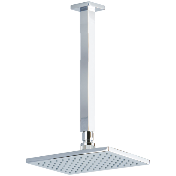 "Borhn 8"" Square Chrome Shower Rain Head, 9.5"" Square Ceiling Mount Arm with Square Escutcheon B51314"