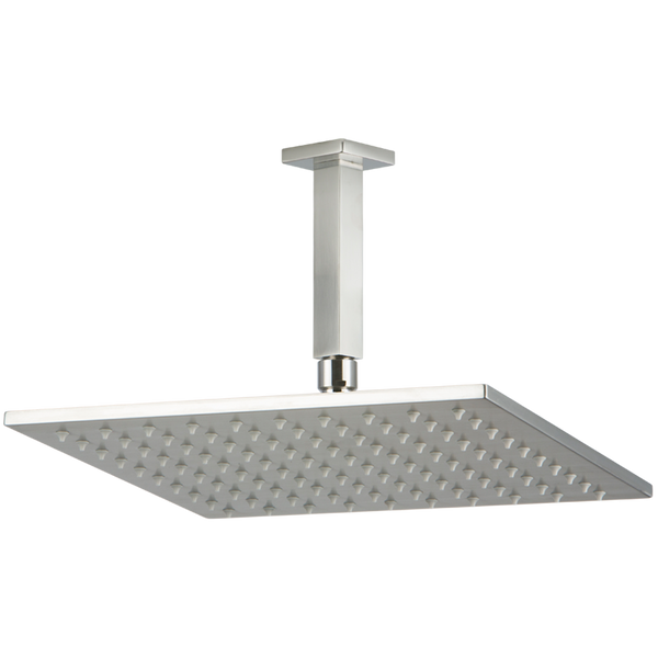 "Borhn 12"" Square Brushed Nickel Shower Rain Head, 4.75"" Square Ceiling Mount Arm with Square Escutcheon B51436"