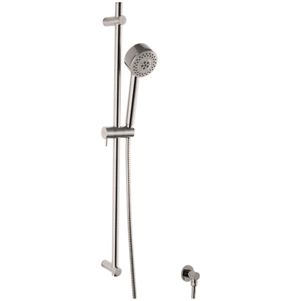 Borhn Five Function Hand Shower with Flexible Hose with Round Adjustable Slide Bar Brushed Nickel B51450