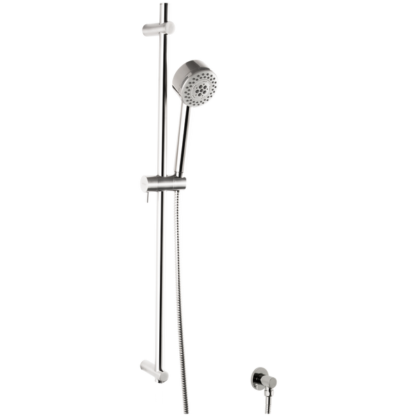 Borhn Five Function Hand Shower with Flexible Hose with Round Adjustable Slide Bar Chrome B51451