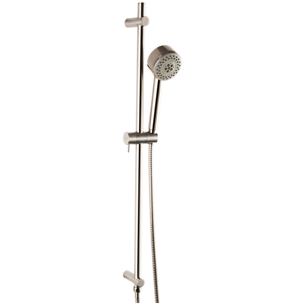 Borhn Five Function Hand Shower with Flexible Hose with Round Adjustable Slide Bar Brushed Nickel B51471