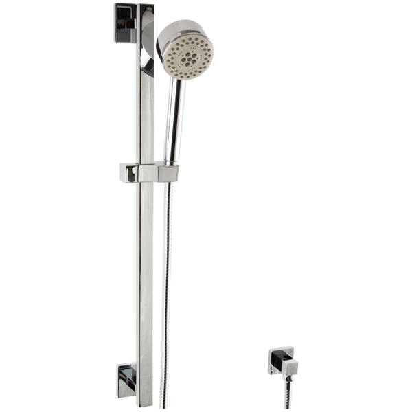 Borhn Five Function Hand Shower with Flexible Hose on Square Adjustable Slide Bar Chrome B51500