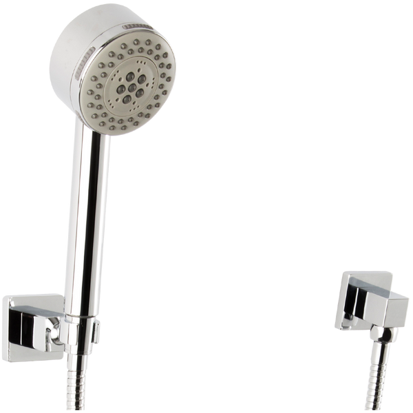Borhn Five Function Hand Shower with Flexible Hose Square Holder and Square Outlet Chrome B51510