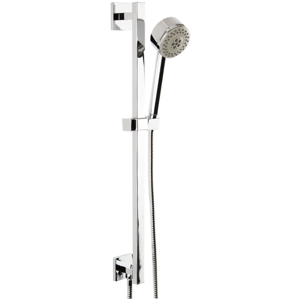 Borhn Five Function Hand Shower with Flexible Hose on Adjustable Slide Bar Chrome B51512