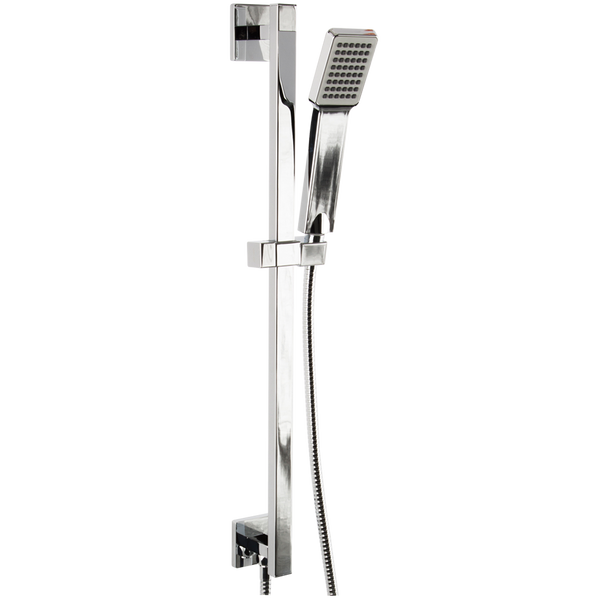 Borhn Square Hand Shower Kit with Square Slide Bar and Integrated Water Outlet Chrome B51514