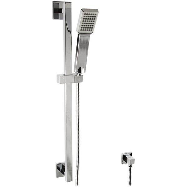 Borhn Square Hand Shower Kit with Square Slide Bar, Separate Water Outlet Chrome B51516
