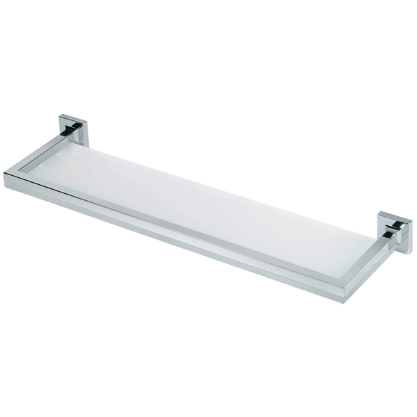 Borhn Forano Chrome and Frosted Glass Wall Mount Bathroom Shelf B51976