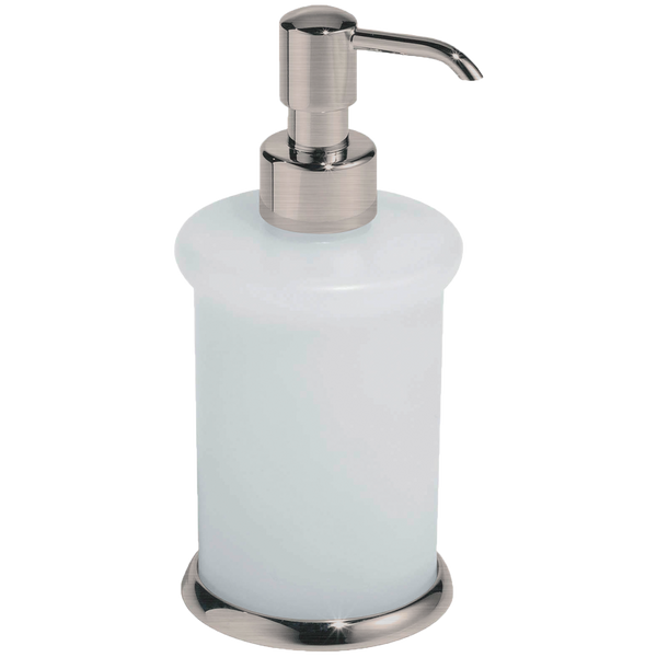Borhn Lupara Brushed Nickel and Glass Free Standing Soap Dispenser B52604
