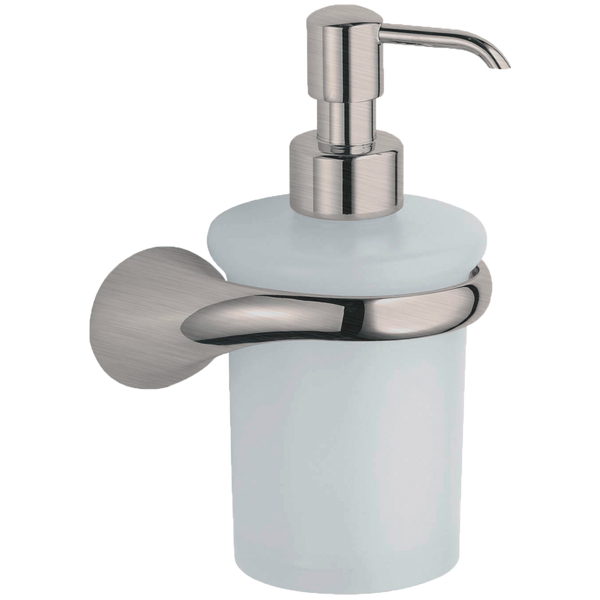 Borhn Lupara Brushed Nickel and Glass Wall Mount Soap Dispenser B52609