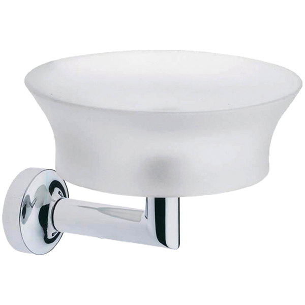 Borhn Serezzo Chrome and Frosted Glass Wall Mount Soap Dish and Holder B52744