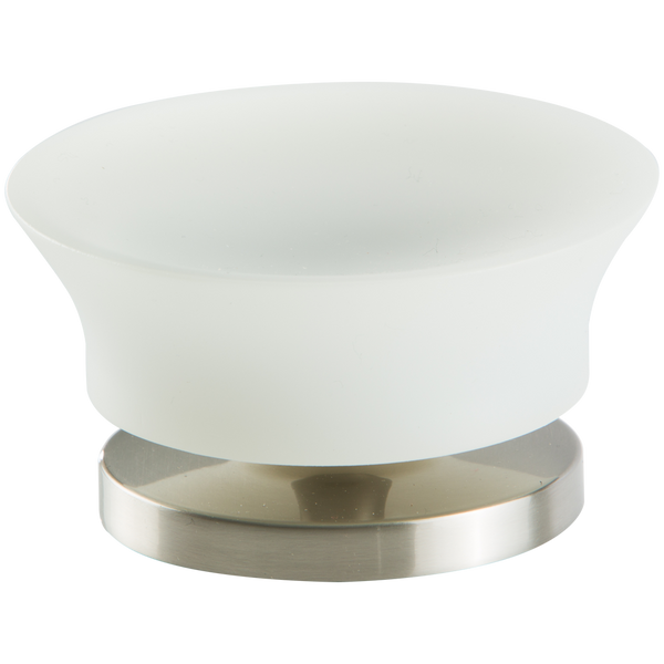 Borhn Serezzo Brushed Nickel and Frosted Glass Free Standing Soap Dish B52791
