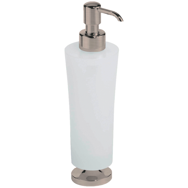 Borhn Serezzo Brushed Nickel and Frosted Glass Free Standing Soap Dispenser B52796