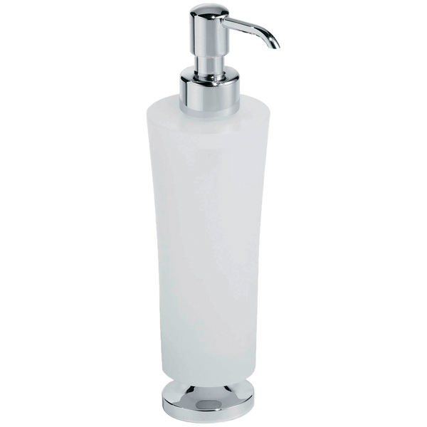 Borhn Serezzo Chrome and Frosted Glass Free Standing Soap Dispenser B52797