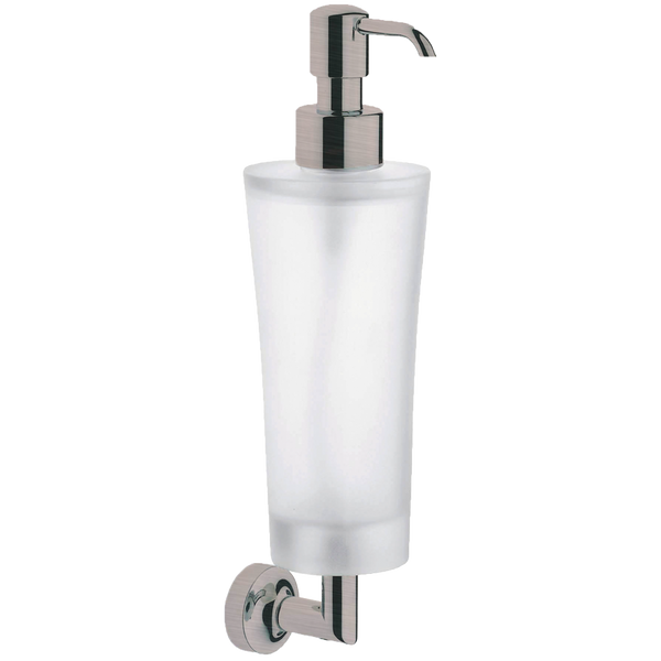 Borhn Serezzo Brushed Nickel and Frosted Glass Wall Mount Soap Dispenser B52801