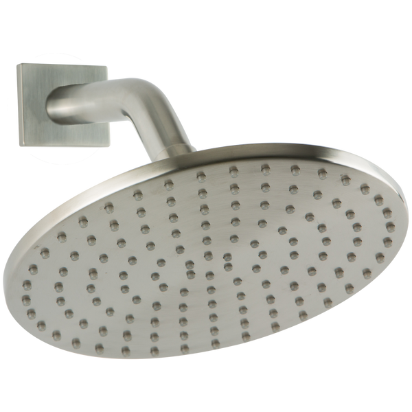 "Borhn 8"" Round Brushed Nickel Shower Rain Head, Round Angled Wall Mount Arm with Square Escutcheon B52870"