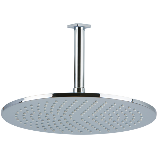 "Borhn 12"" Round Chrome Shower Rain Head, 4.75"" Round Ceiling Mount Arm with Square Escutcheon B52879"