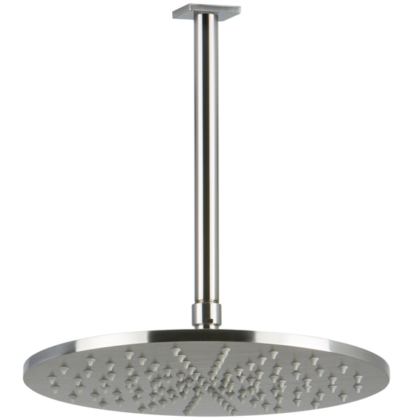 "Borhn 12"" Round Brushed Nickel Shower Rain Head, 9.5"" Round Ceiling Mount Arm with Square Escutcheon B52880"