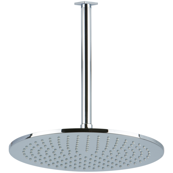 "Borhn 12"" Round Chrome Shower Rain Head, 9.5"" Round Ceiling Mount Arm with Square Escutcheon B52881"