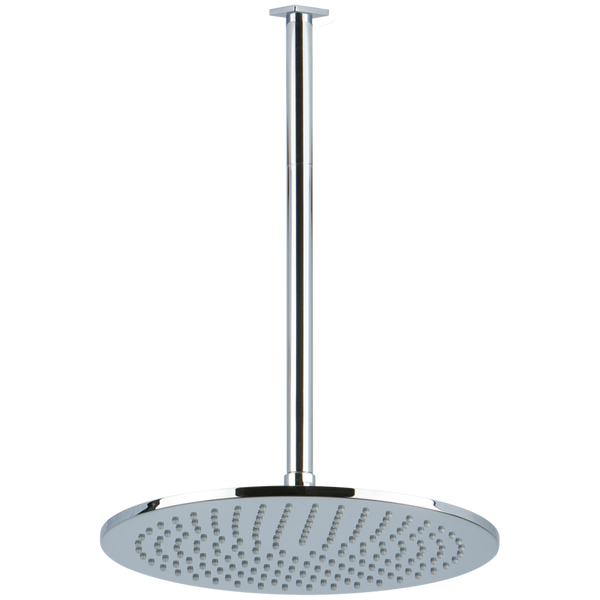 "Borhn 12"" Round Chrome Shower Rain Head, 14"" Round Ceiling Mount Arm with Square Escutcheon B52883"