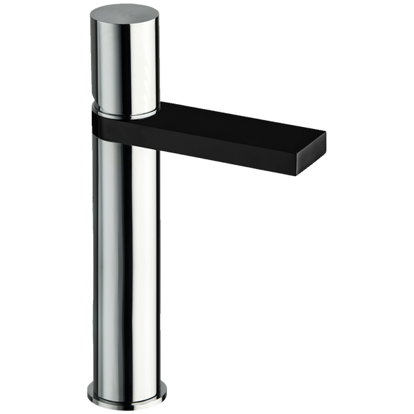 Borhn Ortona Single Hole Bathroom High Vessel Faucet Chrome and Black B52887