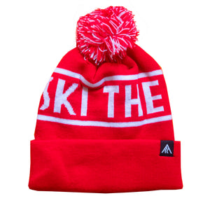 Ski The Whites Red Pom Pom Hat