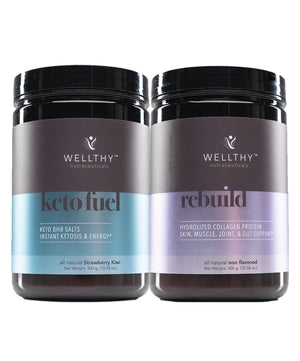 Keto Essentials: rebuild & keto fuel strawberry kiwi Bundle Wellthy Nutraceuticals