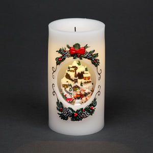 Wax Candle with Nativity Scene