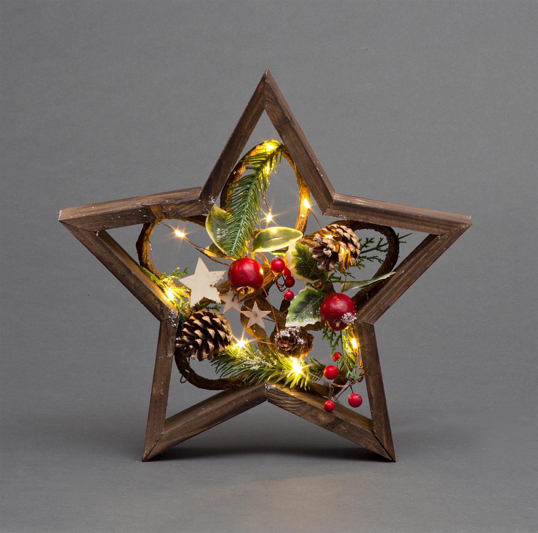 Brown Wooden Star with LED