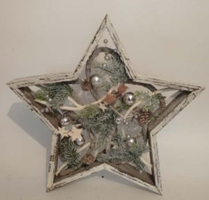 LED Wooden Star Silver Decoration