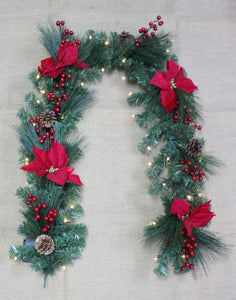 180cm Garland with Poinsettia and LED