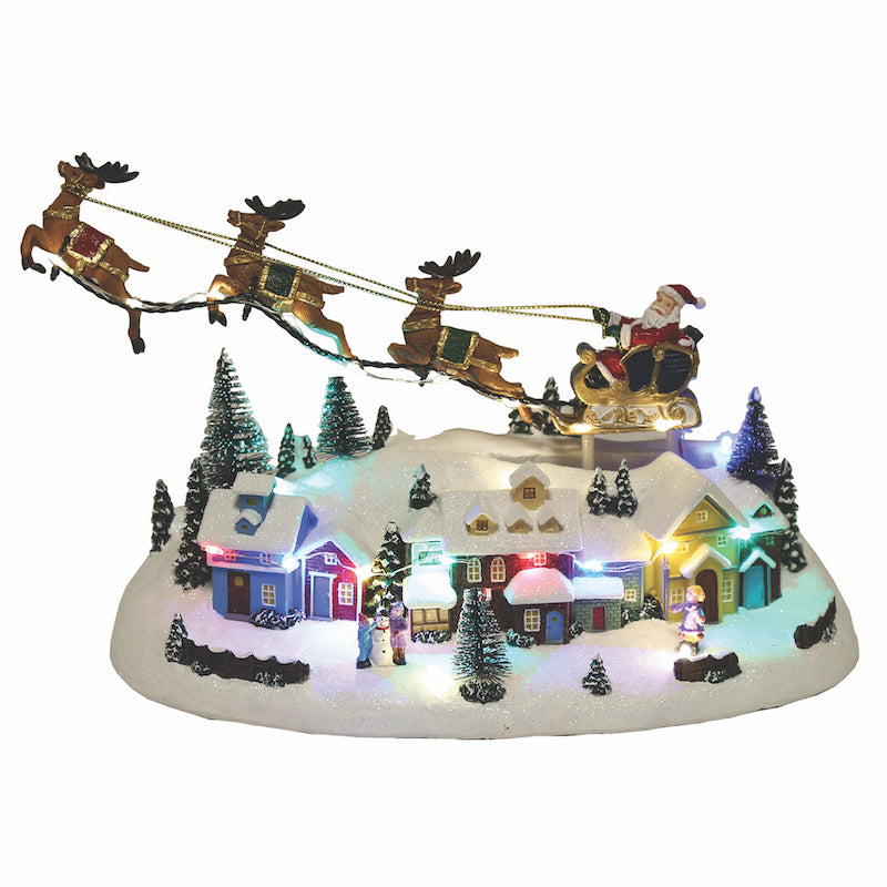 LED Village with Flying Reindeer