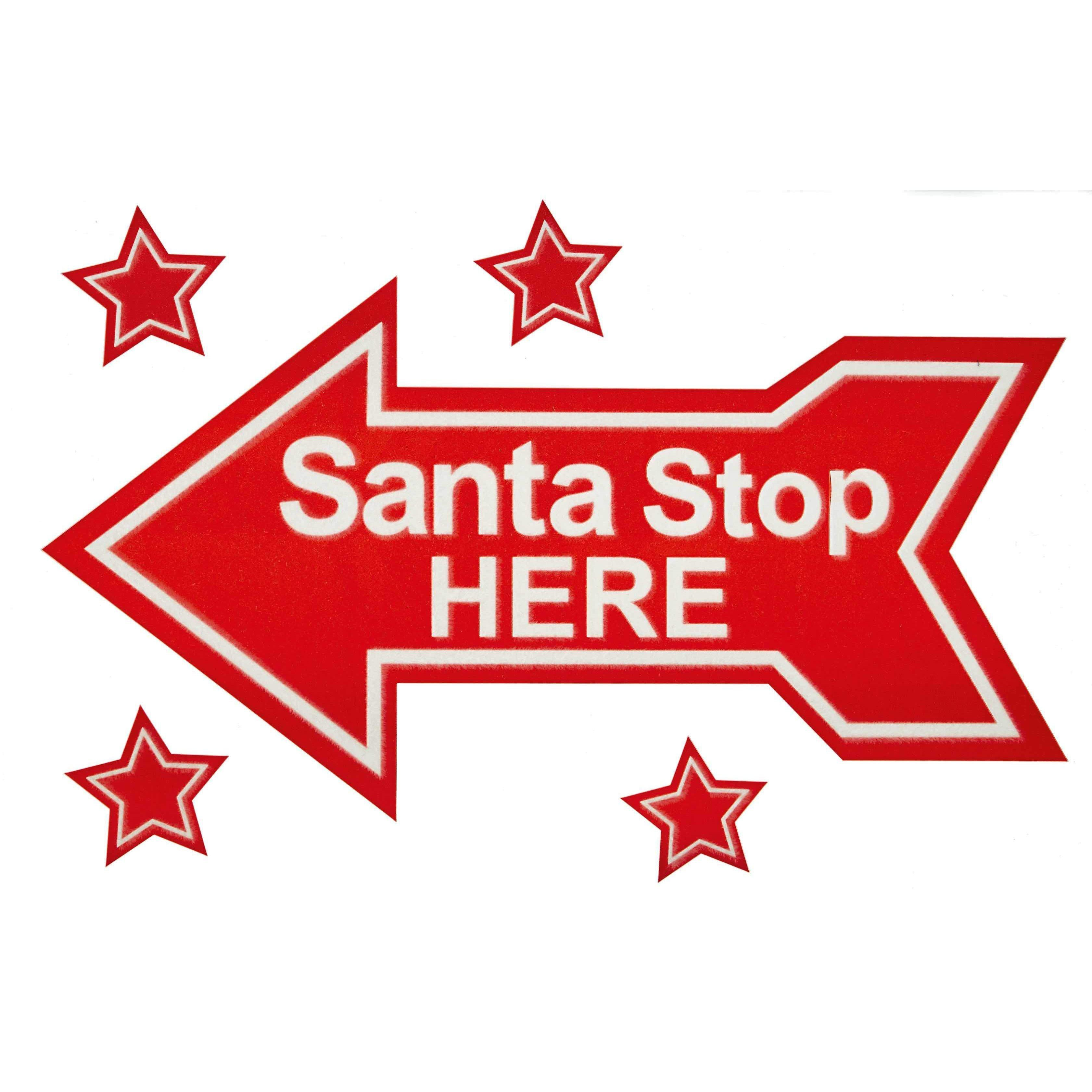Santa Stop Here Window Cling