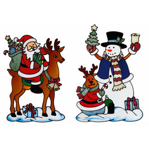 Santa Snowman Window Cling