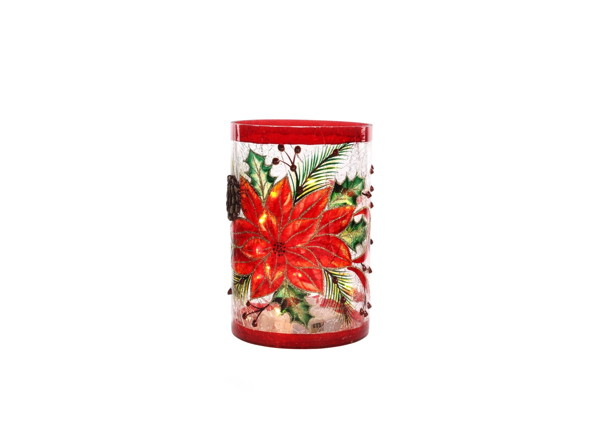 Poinsettia Glass Candle Holder with Battery Lights