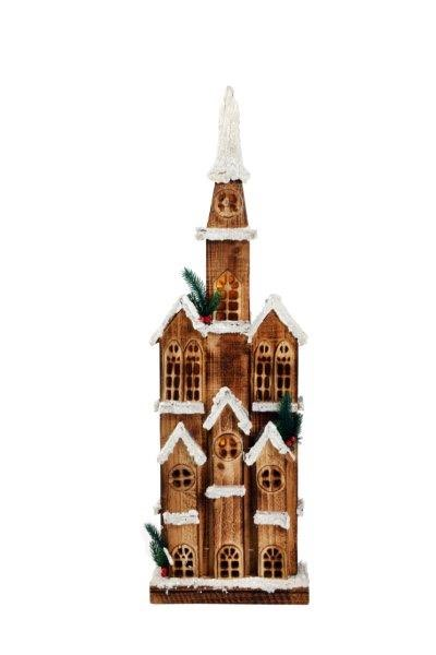 Tall Wooden Pre-Lit Winter Church