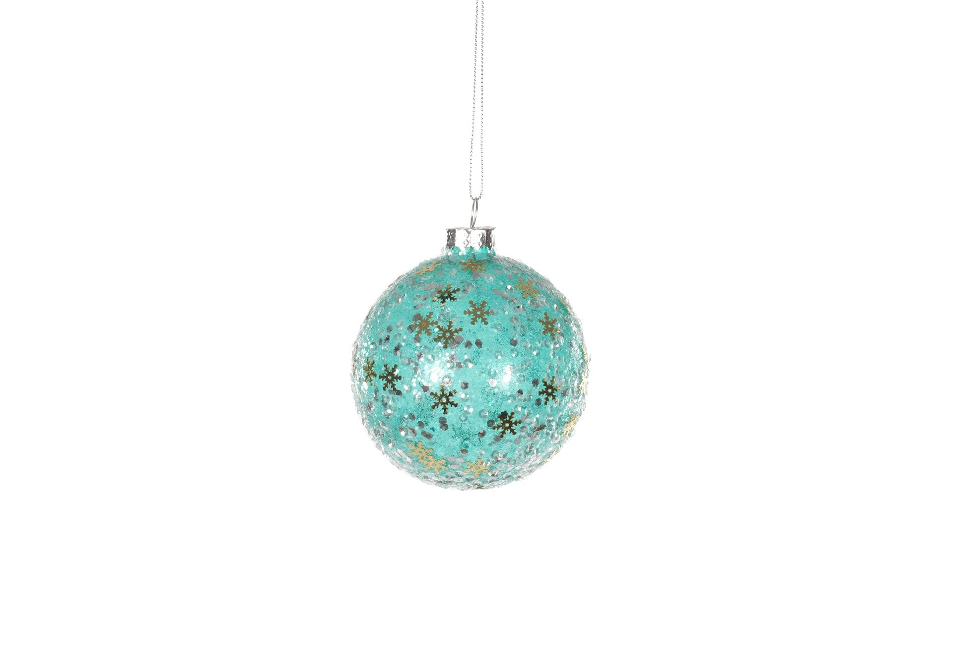 Turquoise Bauble with Snowflakes