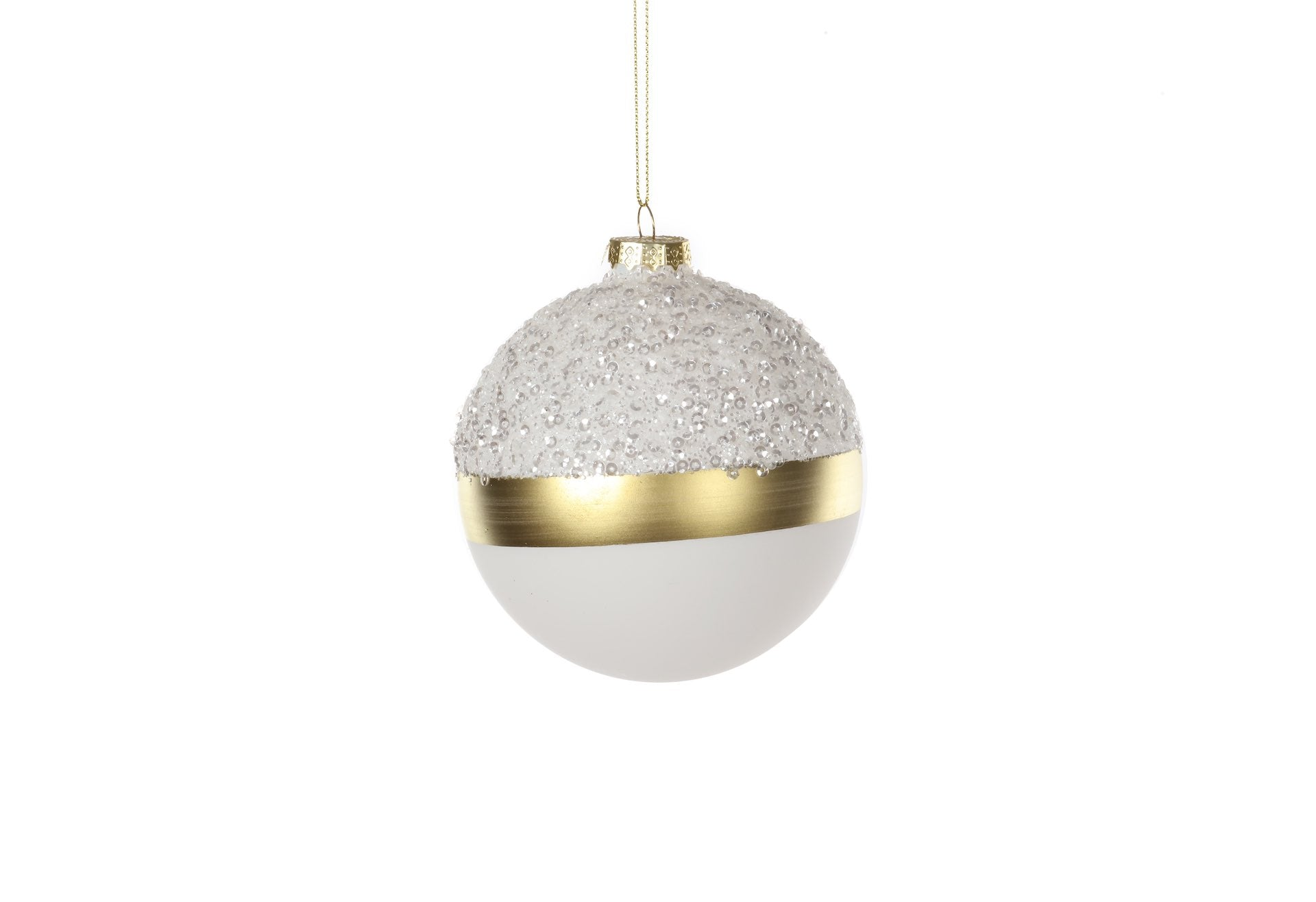 White Glass with Gold Band Bauble