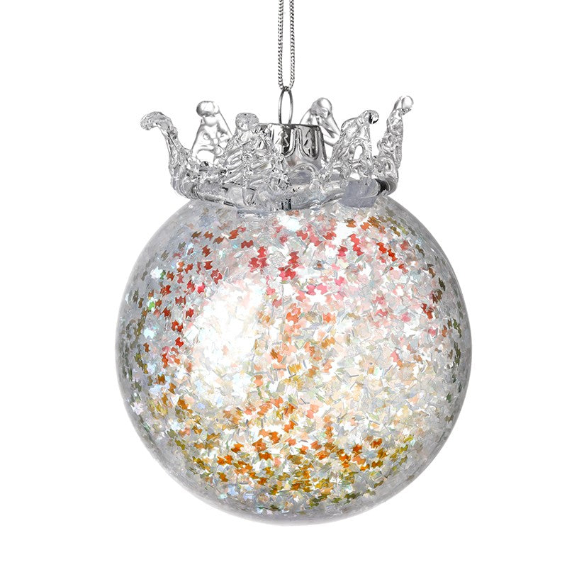 Glitter and Red Crown Bauble