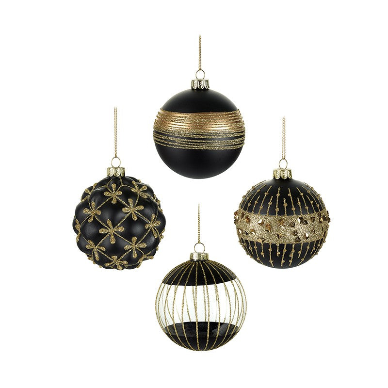 Black and Gold Glass Baubles