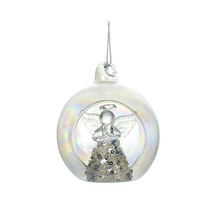 Clear Glass Bauble with Angel