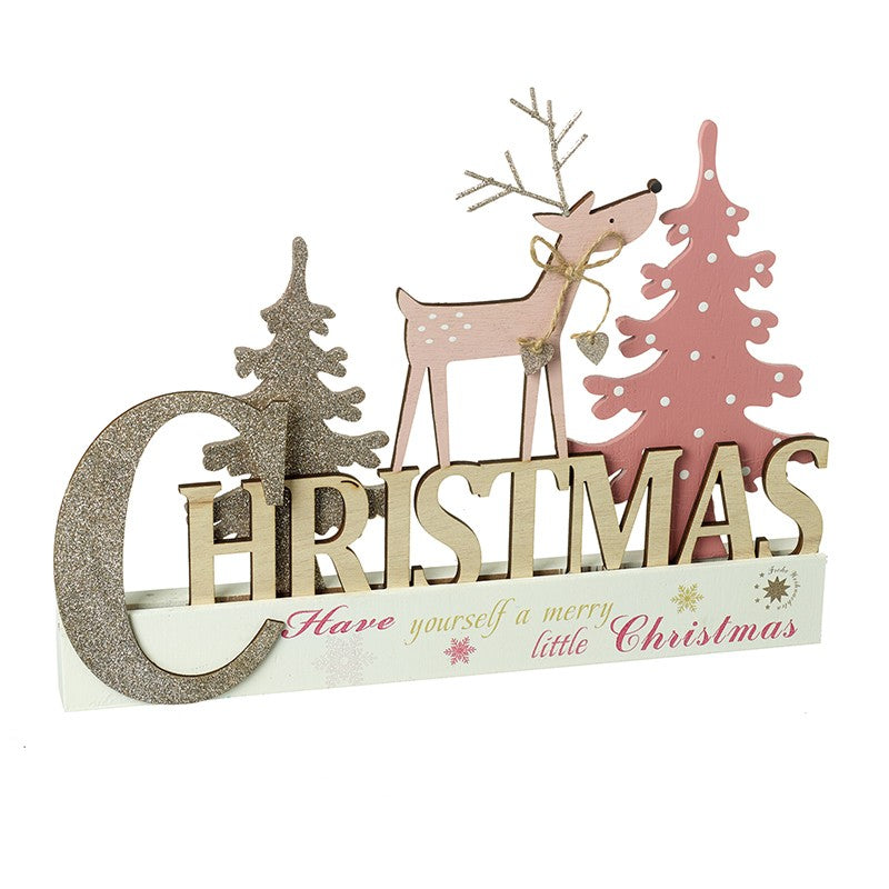 Pink Merry Christmas Sign