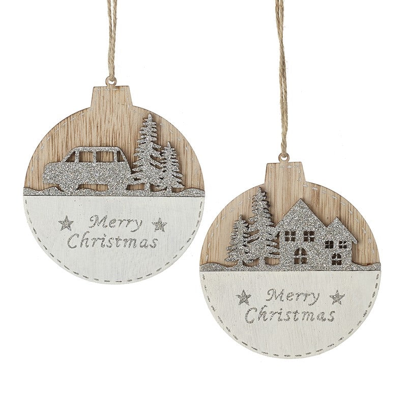 Wooden Merry Christmas Bauble